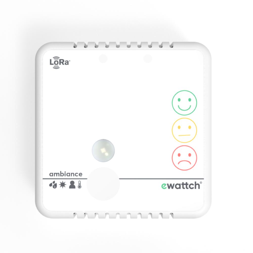 Ewattch - Capteur Ambiance - capteur de température, capteur de luminosité, capteur de presence, mesure taux CO2, mesure de satisfaction client, capteur d'humidité